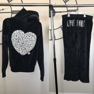 Velour Tracksuit w/ Sequin Heart & Fur Lined Hood